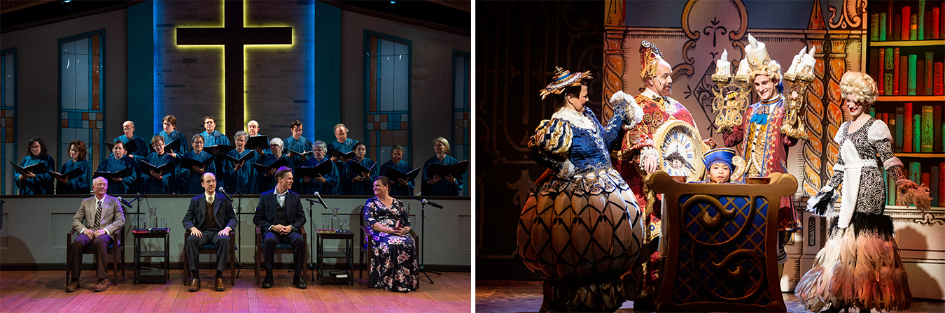 The average cost of production of 'The Christians' (left) and 'Disney's Beauty and the Beast' was over $109,000, while nearly 52% of respondents in a recent Cardinal survey thought the average cost to produce a Mainstage show was as either $10,000 or $20,000. Cardinal is committed to making their shows affordable through a variety of programs. Community Access Tickets (CATs), for example, provides free tickets to families who wouldn't otherwise be able to attend. | Photo by Blueline