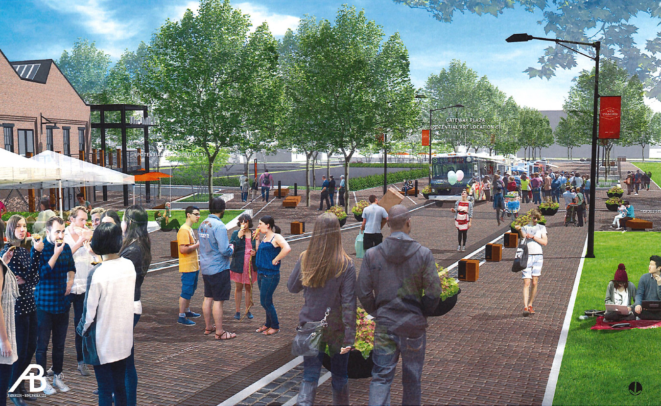 "A nonprofit called CDFI Friendly Bloomington offers financial support for underserved communities, including projects in the ""creative sector."" One possibility is to help fund public art in the Trades District, as shown in this rendering prepared for the City of Bloomington by Anderson + Bohlander, LLC. 