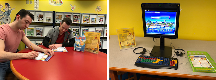 (left photo) Sanderson (left) and Winston try out the activities that Champelli and her staff developed for the show 'Flat Stanley.' | Courtesy photo. (right) Children can use a dedicated computer workstation in the children's area to learn about the different countries and cultures that Flat Stanley visits on his trips. | Photo by Julie Warren