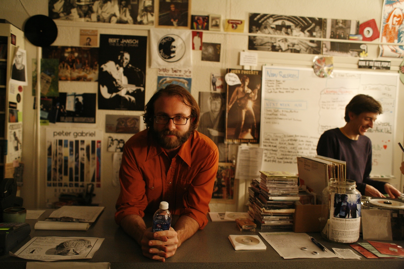 Landlocked Music co-owners Heath Byers (left) and Jason Nickey at their first store in 2006. | Photo by Jeremy Hogan
