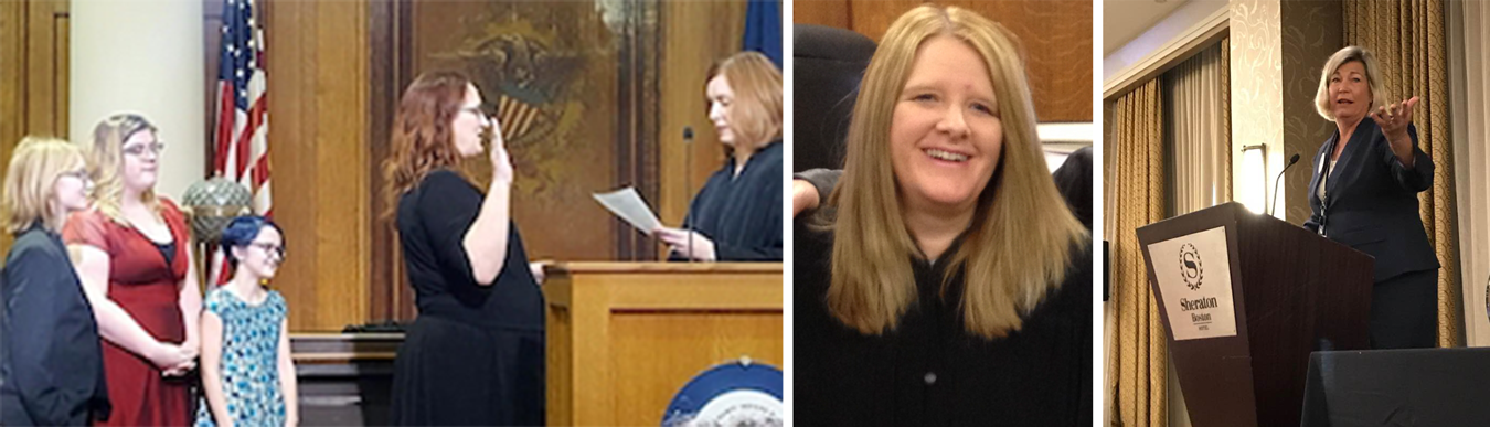(left photo) Judge Catherine Stafford (center), being sworn in by Judge Holly M. Harvey on January 1 at the Monroe County Courthouse with her son, daughter, and step-daughter watching. (center photo) Judge Lori Quillen of the Owen County Circuit Court. (right photo) Attorney Betsy Greene in 2017, accepting the Marie Lambert Award from the American Association for Justice Women's Trial Lawyer Caucus in Washington, D.C. | Courtesy photos