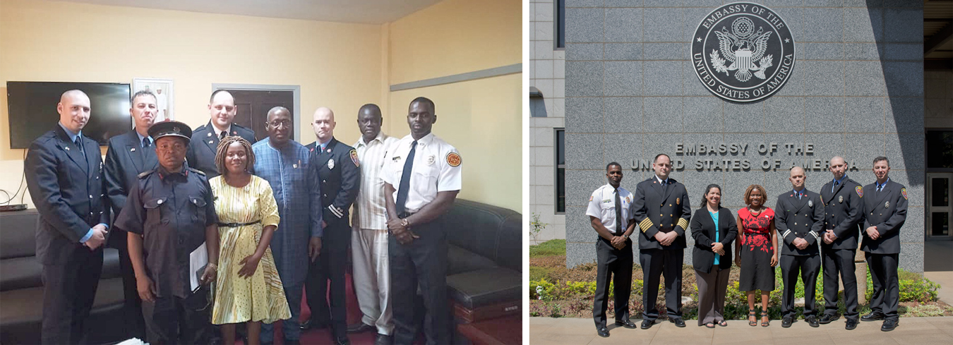 (left photo) Bloomington fire fighters with their hosts in the offices of the Sierra Leone Ministry of Internal Affairs. (front row, l-r) Sierra Leone Deputy Fire Chief Sylvester Momoh Taluva and Eastina Taylor; (back row, l-r) Bloomington firefighter Jonathan Young, Bloomington Fire Department Fire Prevention Officer Tommy Figolah, BFD Fire Chief Jason Moore, Sierra Leone Minister of Internal Affairs Hon. Edward Soloku, BFD Captain Max Litwin, Sierra Leone Permanent Secretary at the Ministry of Internal Affairs [TK—name], and Bloomington firefighter Al Saccoh. (right photo) Bloomington firefighters at the U.S. Embassy in Freetown, with Eastina Taylor (center) and American Ambassador to Sierra Leone Maria Brewer (third from left). | Courtesy photo