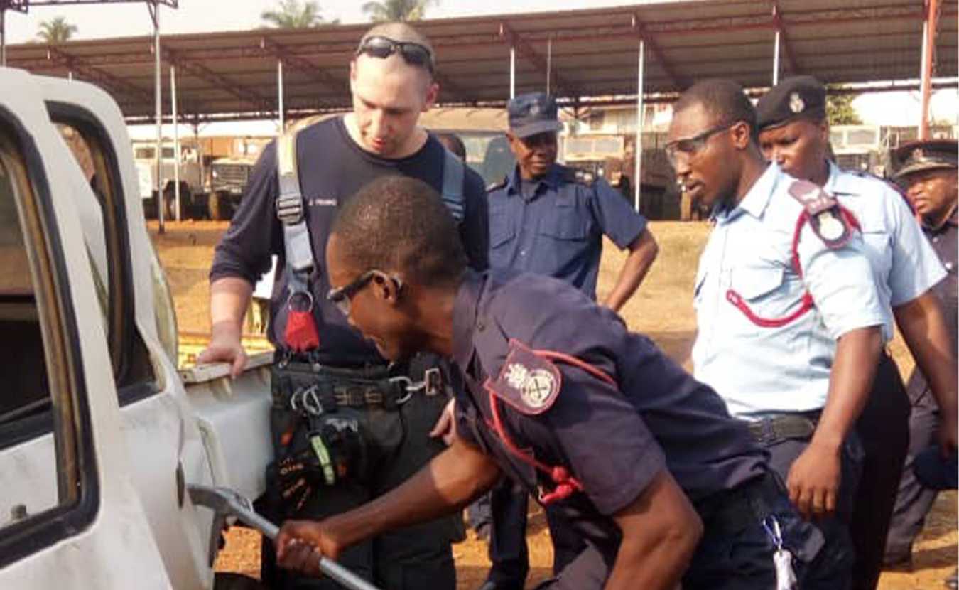 The Bloomington Fire Department sent five firefighters to Sierra Leone in February to share expertise and training methods with the Sierra Leone Fire Force. The trip was coordinated by BFD Chief Jason Moore and Sierra Leonean Eastina Taylor, who participated last summer in the IU Mandela Washington Fellowship. | Courtesy photo