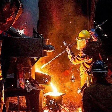 In July, Sculpture Trails Outdoor Museum holds its annual series of workshops and public events in Greene County, capped by the Fire@Nite Iron Pour on July 27. (above, in yellow hardhat) Sculpture Trails founder Gerry Masse works one of the furnaces. | Courtesy photo
