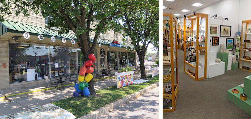 (left) Dimensions Gallery at Artisan Alley, 222 W. 2nd St.; (right) By Hand Gallery, 101 W. Kirkwood Ave. #109