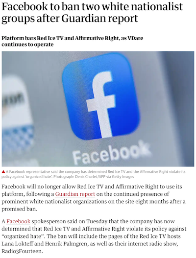 Screenshot of an article on TheGuardian.com reporting that Facebook banned Red Ice TV, a 'white nationalist group,' from its platform.