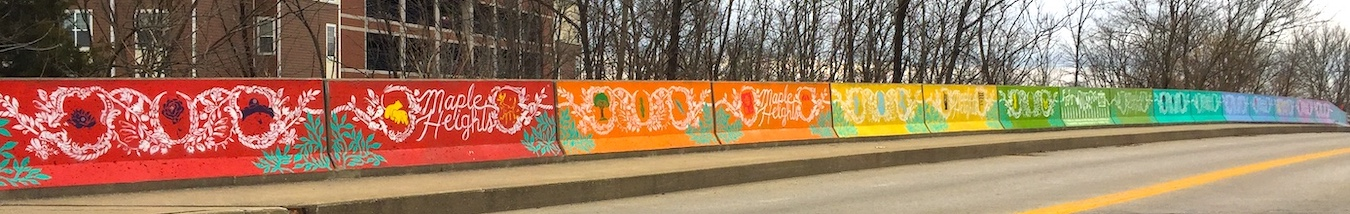 (17) Maple Heights Bridge (2017), 850 N. Rogers Street (the bridge's wall on the other side of the street is also painted), artists — members of Rhino's Youth Center   Photo by Limestone Post