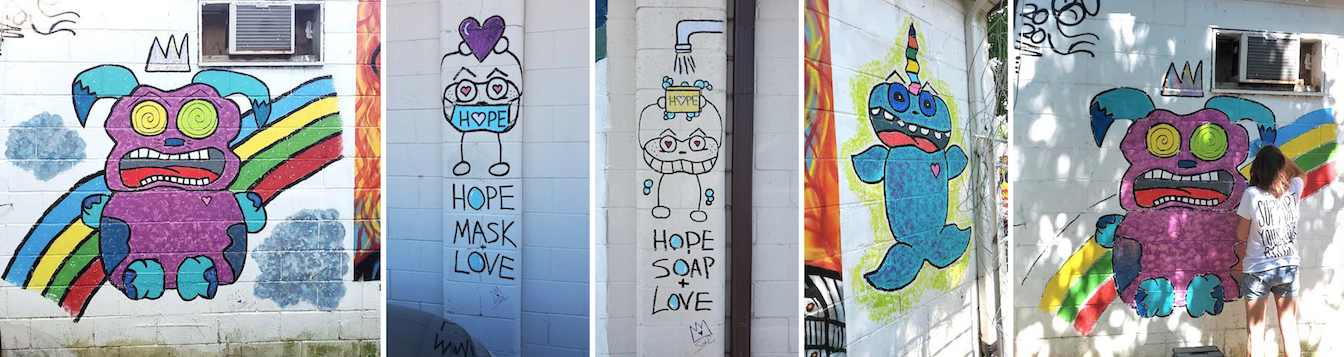 These murals, based on beating the pandemic, were painted by SotR (State of the R) in 2020 at Artisan Alley's co-work building, Twisted Cowork, at 804 W. Kirkwood. (l-r) 'Enjoy Your Rainbow'; 'Hope + Mask + Love'; 'Hope + Soap + Love'; 'Making Algae Angels'; and SotR painting 'Enjoy Your Rainbow'. | Courtesy photos