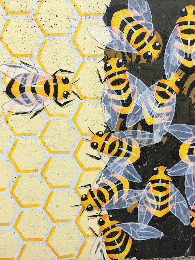 (27) Detail of Bitzer's Wall, 'The Bee-Line' (2018), (921 S. Morton St., artist — Lily Hollinden | Photo by M.J. Bower