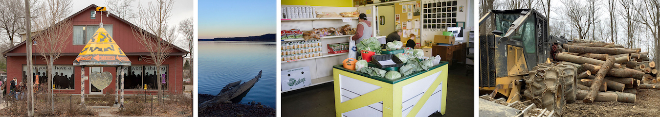 Articles by LP's contributors are still being read years after publication because they include so much information that is still relevant. Photos from just a few of those articles (l-r): The Shalom Center, from a two-part series on homelessness by TJ Jaeger | Photo by TJ Jaeger; Lake Monroe, for our story on Bloomington's tap water, by Michael G. Glab | Photo by Lynae Sowinski; Mother Hubbard's Cupboard, from a story by Sarah Gordon on food insecurity | Photo by Natasha Komoda; and a photo from one of several articles we've published on logging in our state forests | Limestone Post