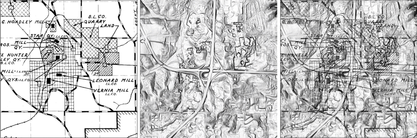 """These maps, courtesy of the <a href=""""https://igws.indiana.edu/"""" target=""""_blank&quot;"""">Indiana Geological and Water Survey</a> (IGWS), show an area northwest of Bloomington at the interchange of I-69 and State Road 46. The proposed property for Quarry in the Uplands limestone heritage park is north and west of the highways. The left image is a quarry map of the area from 1931. The middle image is the same area using LiDAR topography. In the right image, an IGWS cartographer draped the historic map over the LiDAR map. The National Ocean Service says LiDAR, which stands for Light Detection and Ranging, is 'a remote sensing method that uses light in the form of a pulsed laser to measure ranges (variable distances) to the Earth.' 