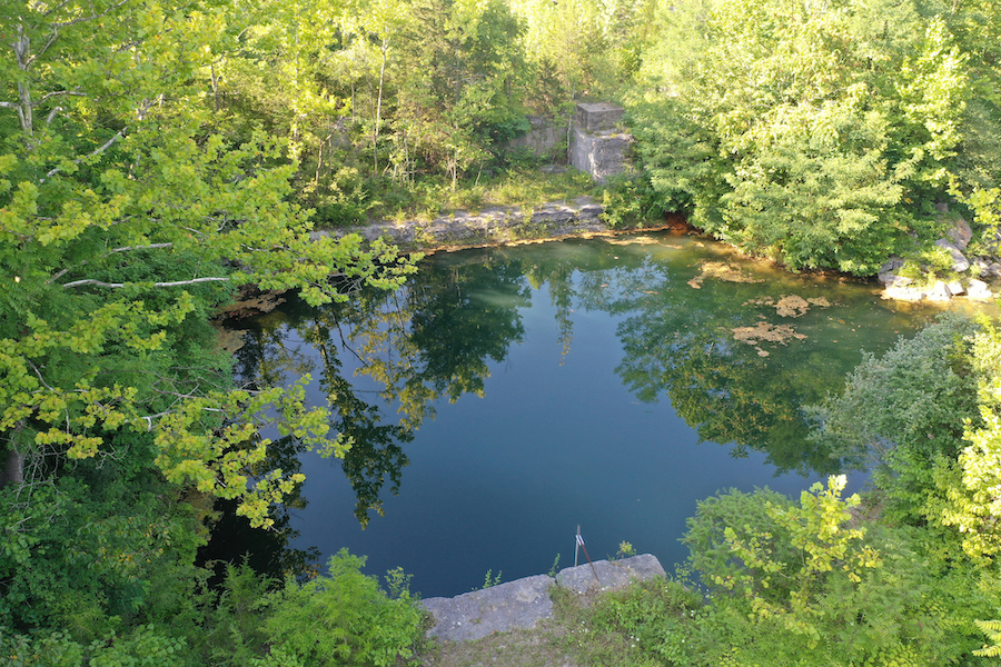 The Monroe County Plan Commission proposes turning a 100-acre former quarry property into a limestone heritage park that would highlight the history of the local limestone industry and provide an arts venue. A drone video of the property can be viewed at the end of this article. | Photo by Geoff McKim