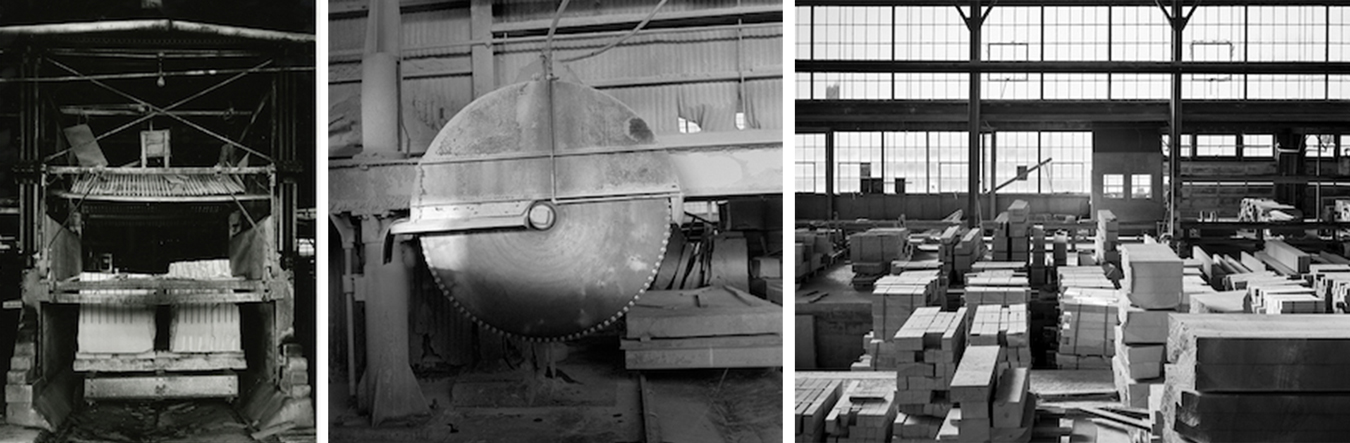 """Plans for the limestone heritage park include displaying historical quarry machinery, offering stonecutters a place to show their craft, and developing an outdoor museum and entertainment venue. (l-r) Gang saw, photographed by Richard Koenig in a Monroe County dimension mill circa 1980; single-blade circular saw, photographed in Woolery Mill on Bloomington's southwest side during the mid-1990s; Woolery Mill, 1980. The 1930s building is now an events venue, One World at Woolery, and is designated as a National Historic Landmark. 