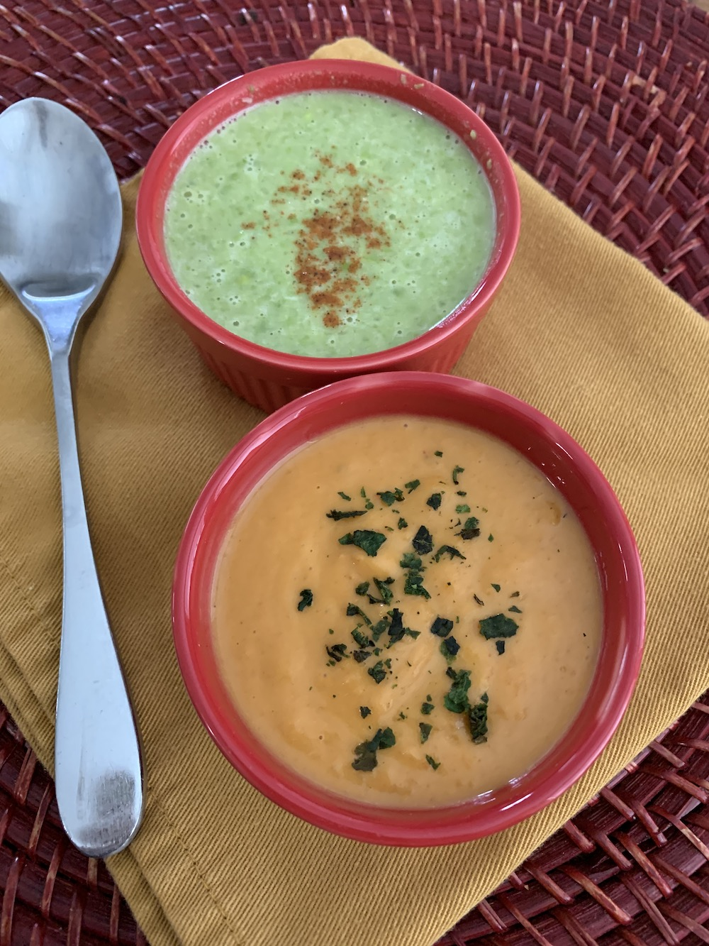 Ruthie says these coconut-milk–based soups stand very well on their own. Thai Green Pea Soup (top) and Thai Sweet Potato Soup | Photo by Ruthie Cohen