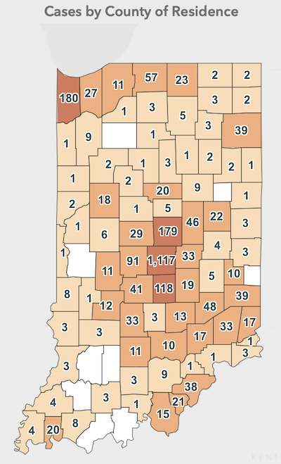 This Indiana Coronavirus Map shows cases by county of residence as of March 31. The site shows other data and is updated daily by the Indiana State Department of Health.