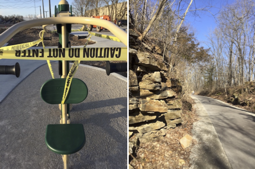 (left) Caution tape covers exercise equipment in Switchyard Park. Bloomington's parks and trails remain open, butall city park playgroundsare closed until further notice. The Limestone Greenway (right) and Karst Farm Greenway are open, but Monroe County's parks and facilities are closed. | Limestone Post