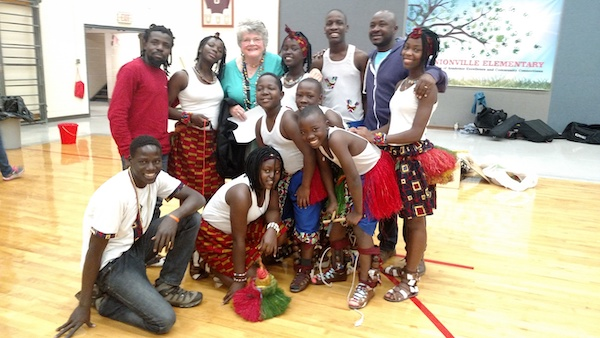 The dance troupe Dance of Hope with Lotus volunteer Kathy Aiken (back row, third from left) at Unionville Elementary School in 2018. | Photo courtesy of Lotus Education & Arts Foundation