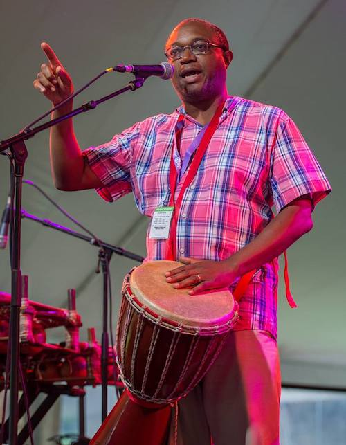 Masankho Banda, a performance artist, storyteller, and drummer from Malawi, was among the artists scheduled to meet with school children in Indiana this year for the Lotus Blossoms program. | Photo courtesy of Masankho Banda