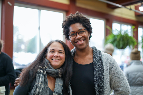 Brandi Williams (left), owner-operator of Primally Inspired Eats, and Lauren McCalister, owner of Three Flock Farm in Ellettsville, are People's Market committee members.