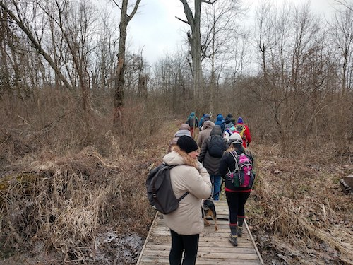 WINGS's first event was in January, a hike in Flatwoods Park just west of Ellettsville, in 15-degree weather. | Photo by Jill Vance