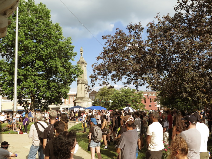 On the evenings of July 6 and July 7, between 400 and 500 protesters gathered peacefully at the Monroe County Courthouse to express outrage at anti-Black violence, racial aggression, and profiling. | Photo by Limestone Post