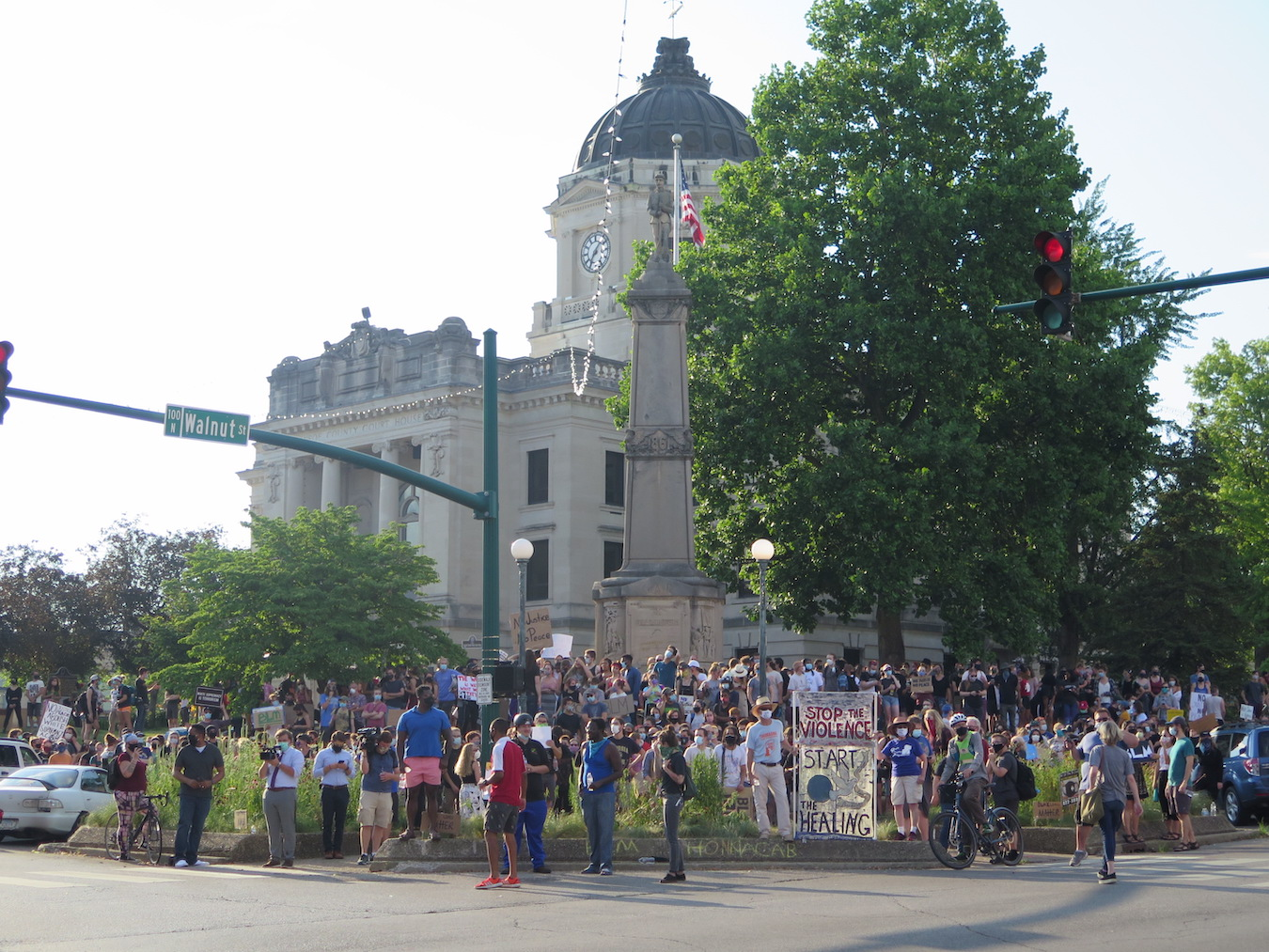 Protesters prepare to march through the streets of Bloomington on July 7. | Limestone Post