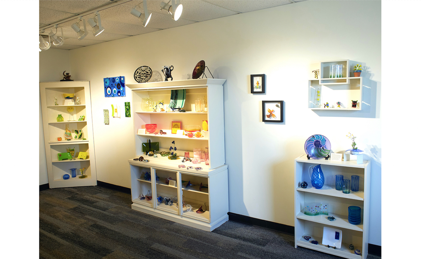 The gallery at Bloomington Creative Glass Center (BCGC) is open Wednesday through Friday, 1:30–5:30 p.m., and displays artist work with such diverse glass pieces such as blown glass, fused glass, sandblasted glass, molded glass, and more. | Photo by Paige Strobel