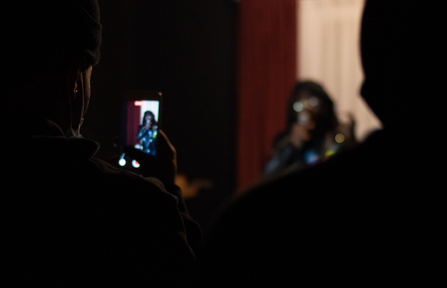 The soft opening of Abattoir Gallery was livestreamed by both Abattoir and the crews of various performers. Performances were held in one room, with a separate room for the audience.   Photo by Ian Carstens