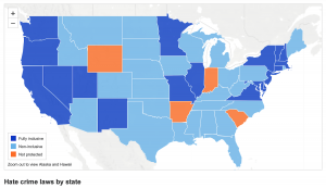 """This <a href=""""https://www.adl.org/adl-hate-crime-map"""" target=""""_blank"""" rel=""""noopener"""">Anti-Defamation League map</a> shows hate crime laws by state. Such laws can address 'hate crimes directed against individuals because of race, religion, ethnicity, sexual orientation, disability, gender or gender identity.' Indiana is one of only four state with no such laws, according to the ADL."""