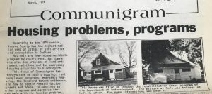 High housing costs and insufficient emergency housing have been issues in Bloomington for more than 50 years. Source: Communigram, Monroe County Community Action Program, March 1976