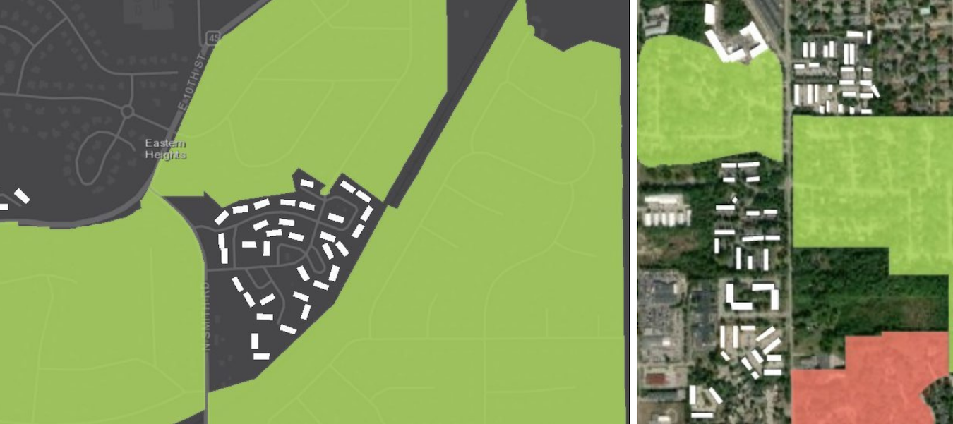 (left) In northeast Bloomington, the Eastern Heights Neighborhood Association surrounds, but does not include, the Meadow Park Apartments. (right) Sherwood Oaks and Sunny Slopes Neighborhood Associations are colored green because any resident may join — as long as they live in the boundaries of the association. Peppergrass Neighborhood Association is in red to indicate only property owners are eligible to belong. Numerous apartments are shown along South Walnut Street Pike. | StoryMap by Mark Stosberg. Sources: neighborhood data from City of Bloomington; apartment data from OpenStreetMap.