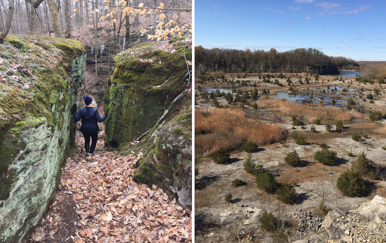 Fern Cliff Nature Preserve and DePauw Nature Park are only 7 miles apart, but neither is typical of the surrounding Putnam County countryside. Walker says Fern Cliff (left) is more like Middle-earth, while DePauw Nature Park (right) might evoke the Arizona desert.   Limestone Post