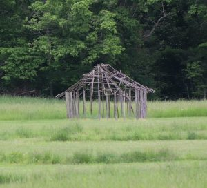 This reconstructed frame of a daub house at Angel Mounds is like those that might have been used at the settlement. While the inhabitants were agricultural people, the town was also a trading hub due to its proximity to several rivers.| Photo by Laura Martinez